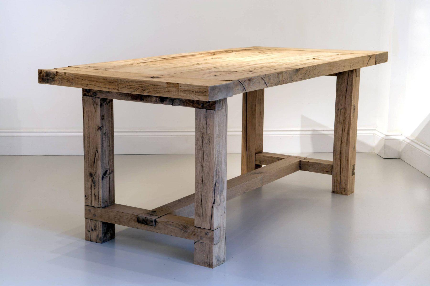 Rustic wooden dining table