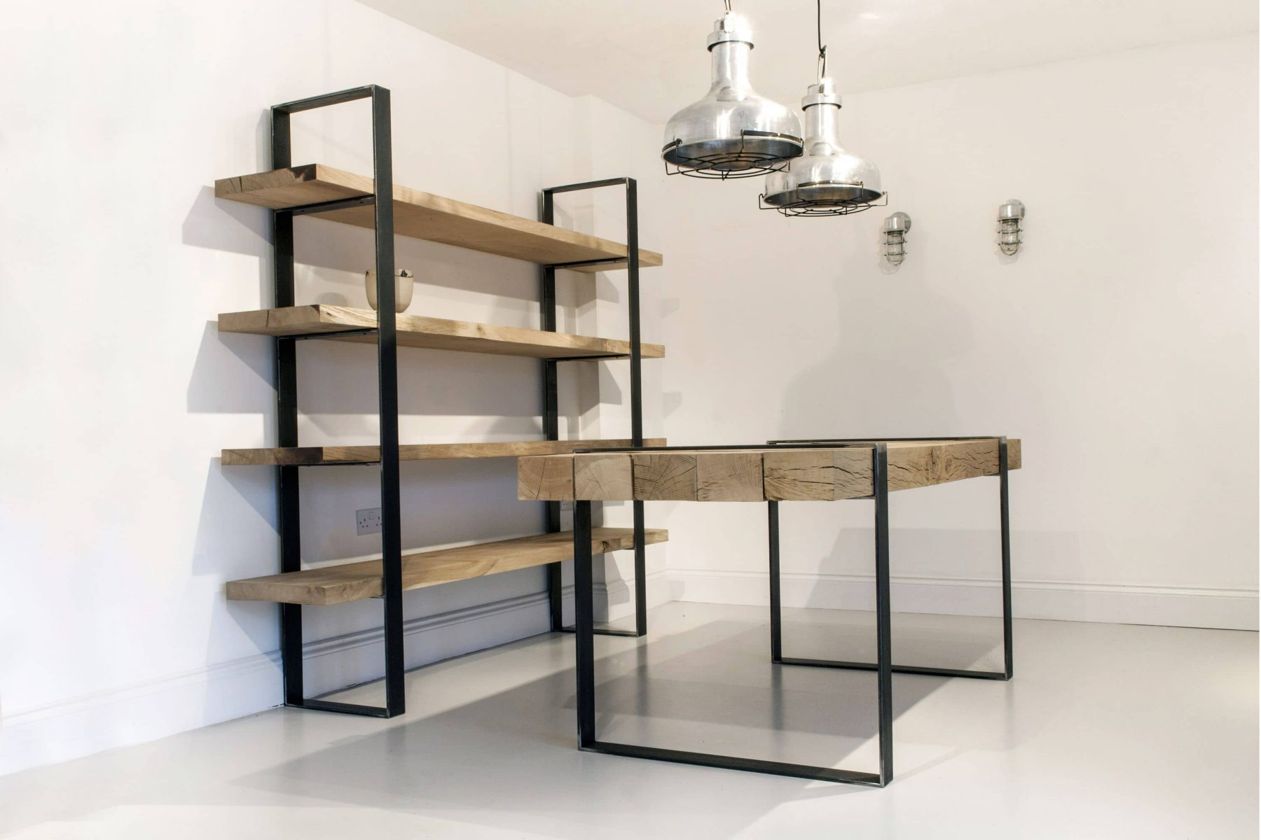 Rustic and industrial bookcase and table