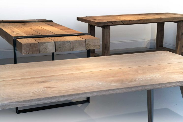 Rustic wooden tables