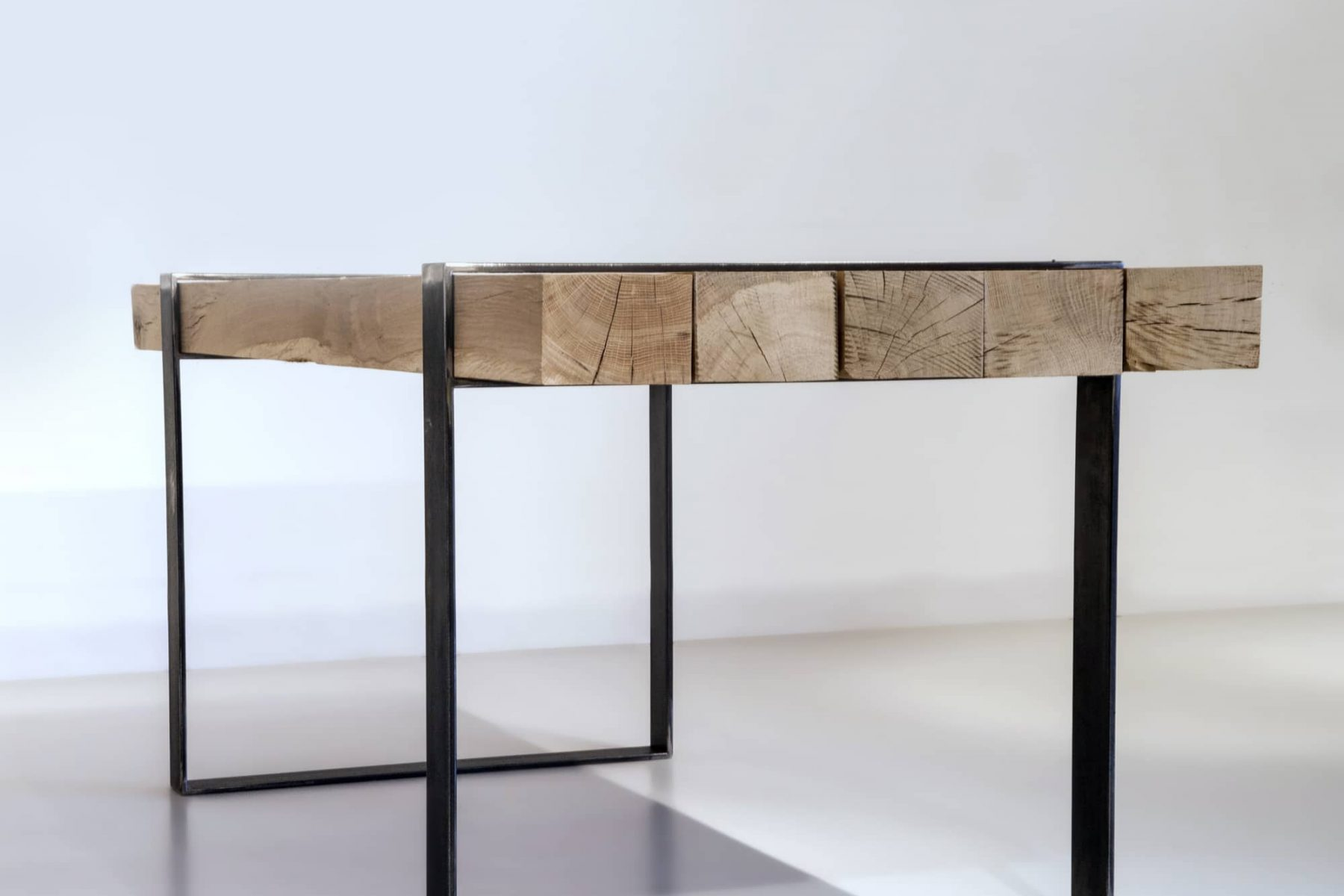 Rustic wooden table with metal legs