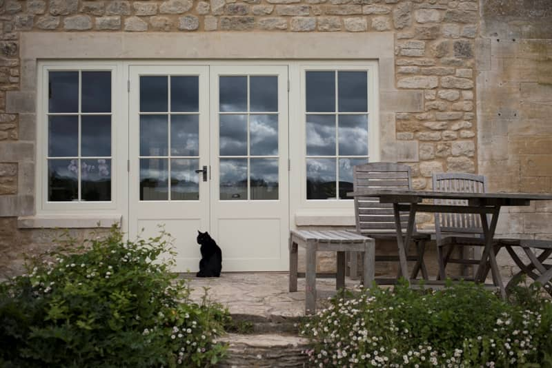 Bespoke french doors and windows in stone house
