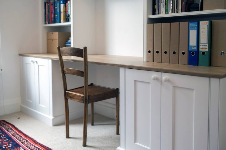 White study room with desk