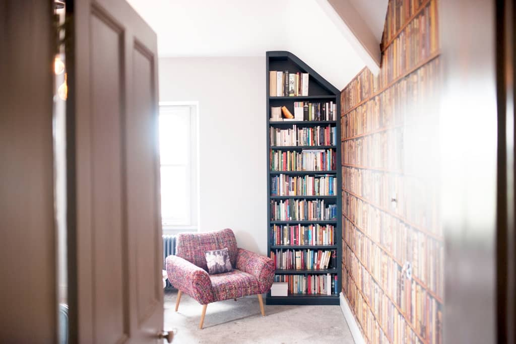 Freestanding bookcase in small room