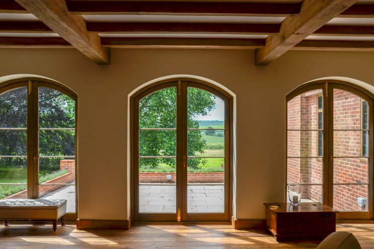 Arched French wooden doors