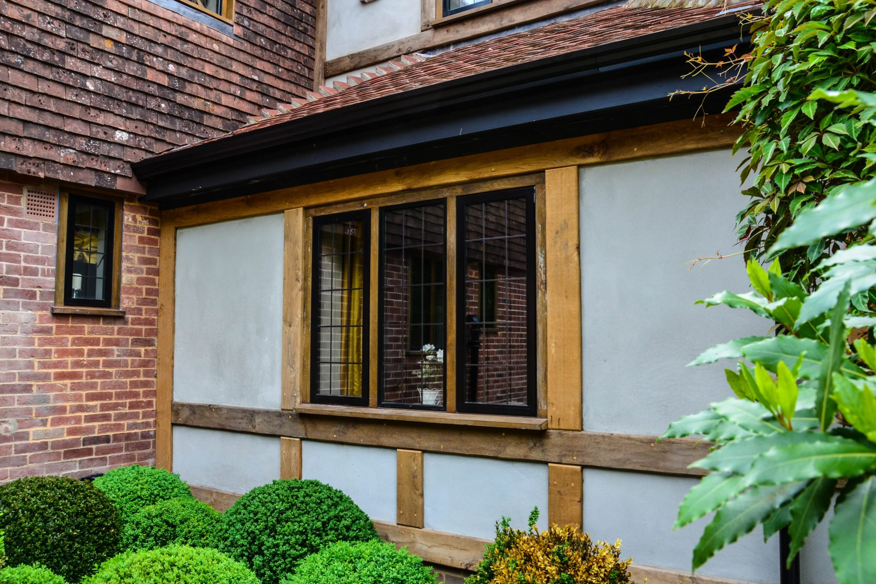 Wooden casement windows in heritage home