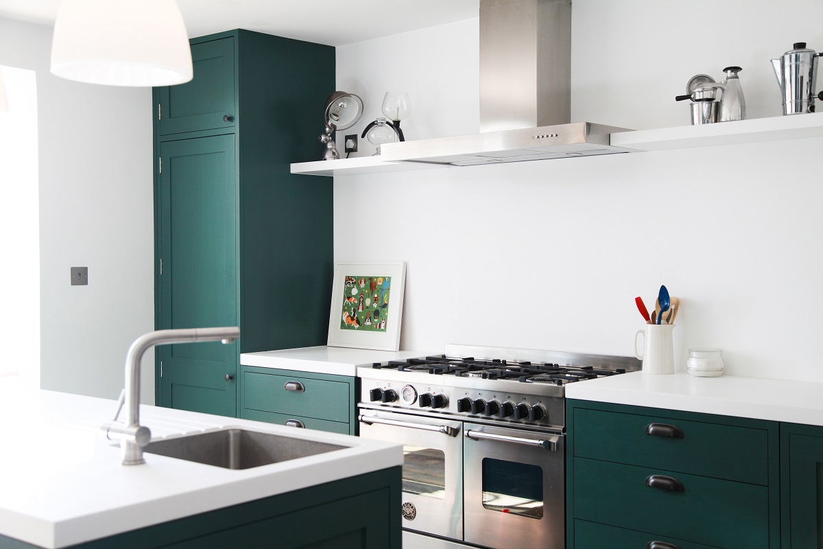 Green shaker kitchen with Bertazzoni range cooker