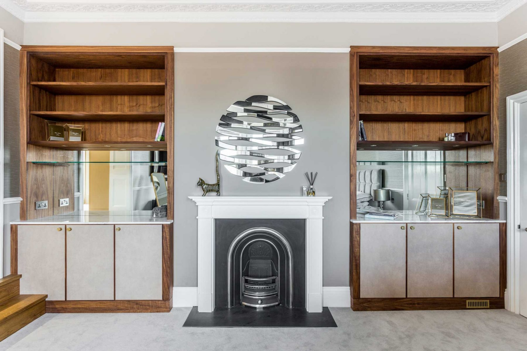 Alcove cabinets in master bedroom