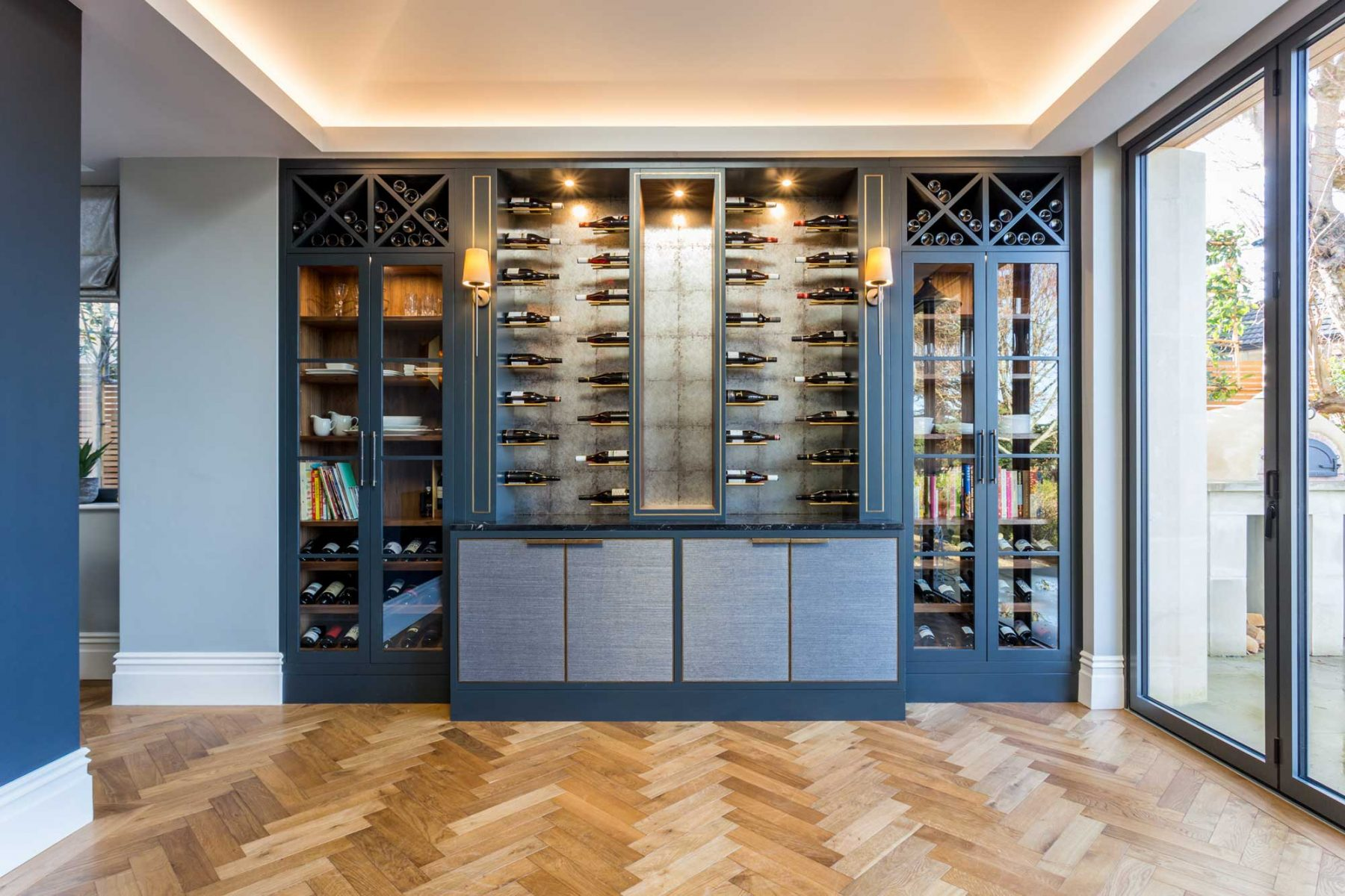 Custom-made wine wall designed by Mia Marquez