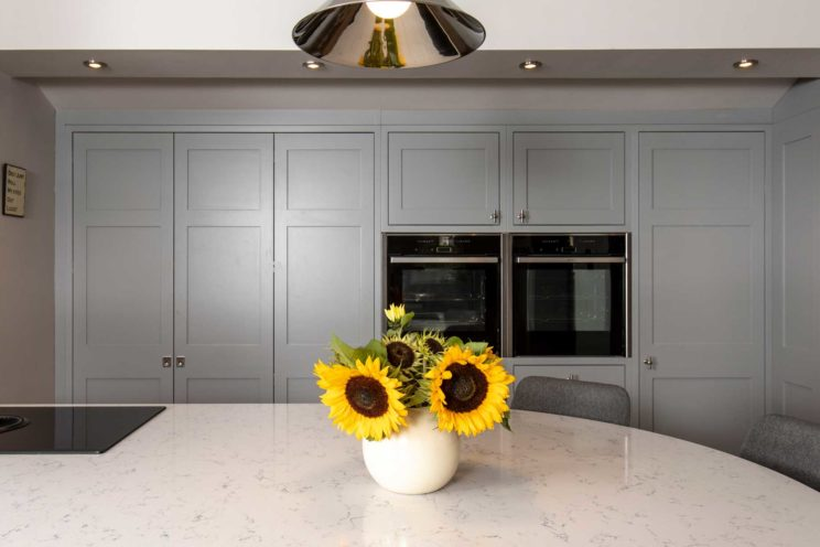 Grey Shaker kitchen with breakfast bar