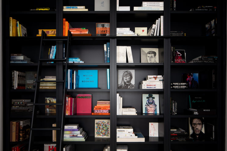 Bespoke library bookcase with ladder