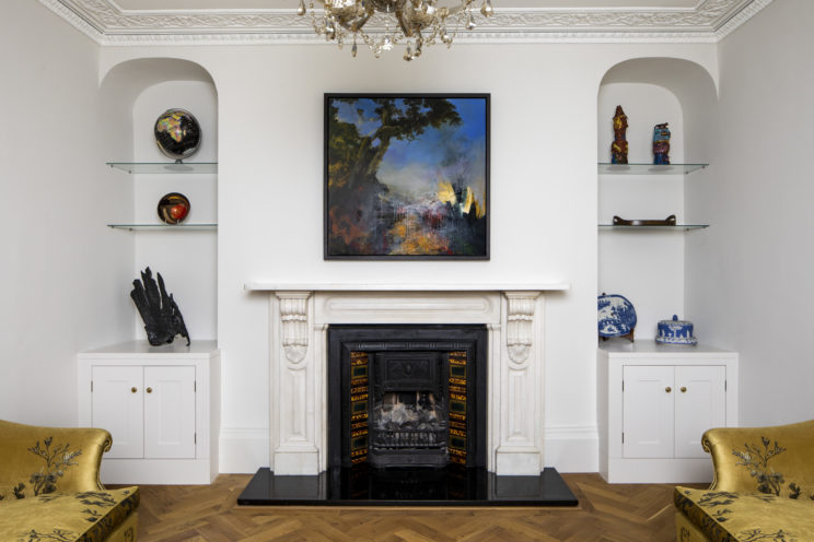 Alcove cabinets and oak parquet flooring