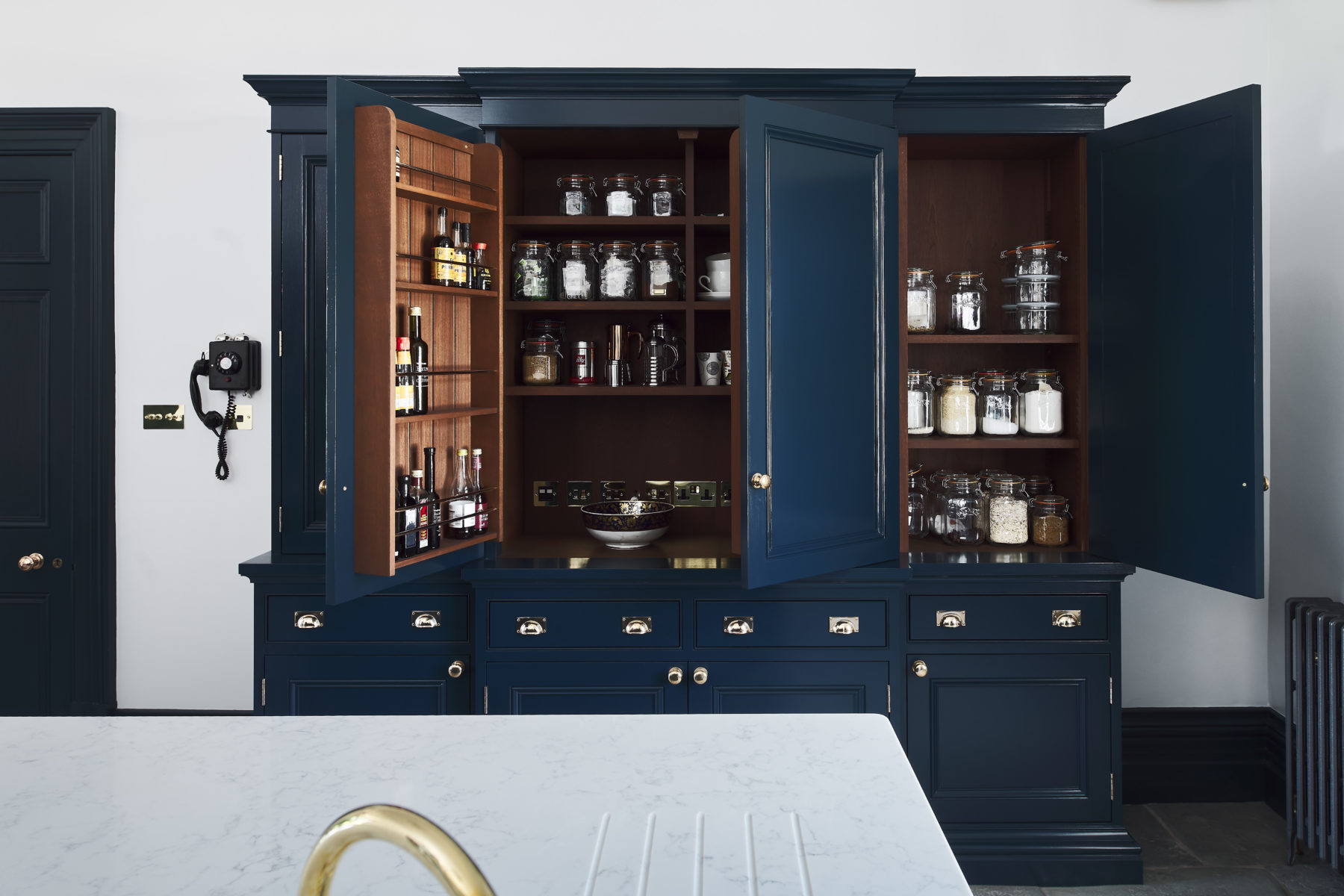 Classic kitchen larder in listed manor house