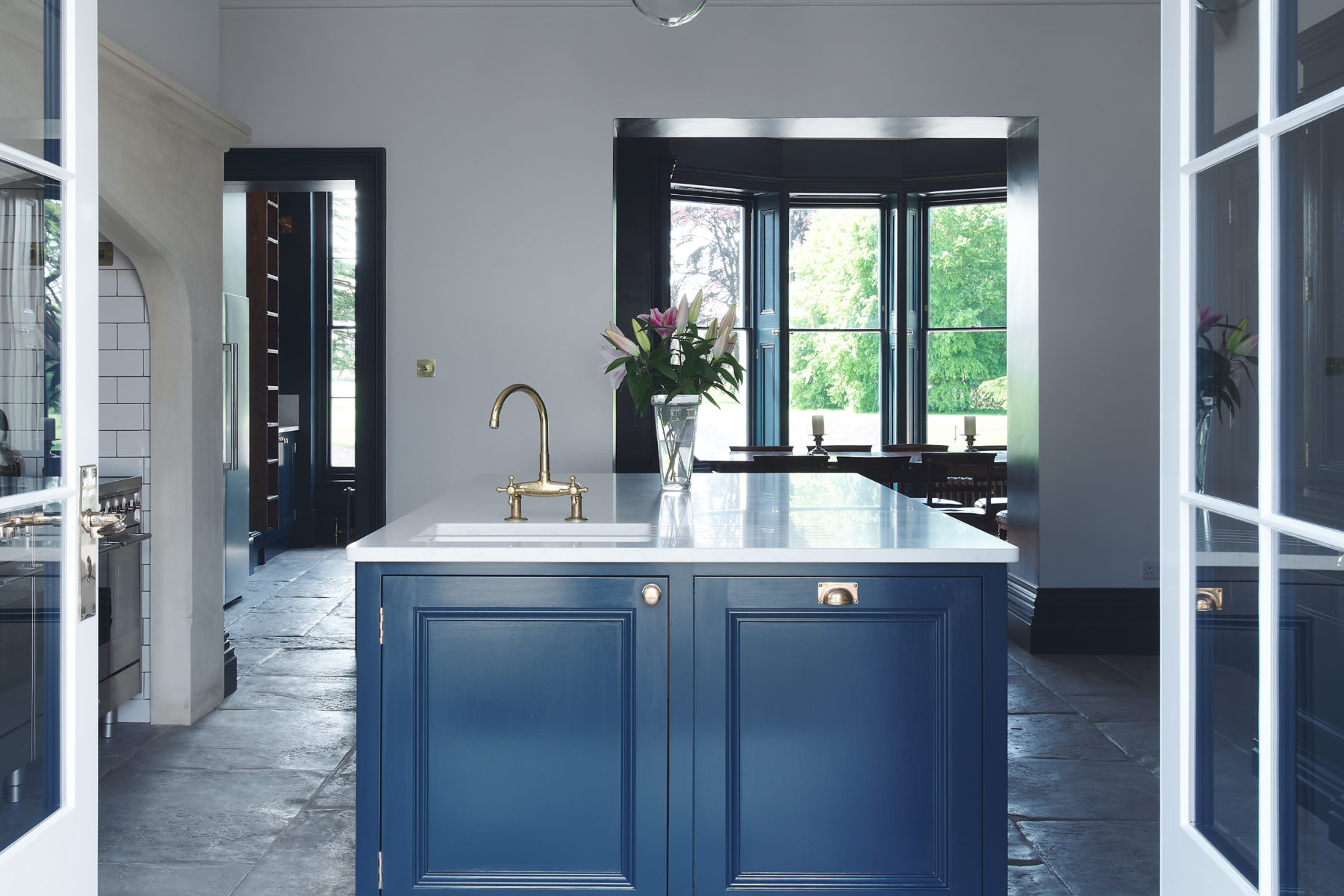 Classic kitchen island in listed manor house