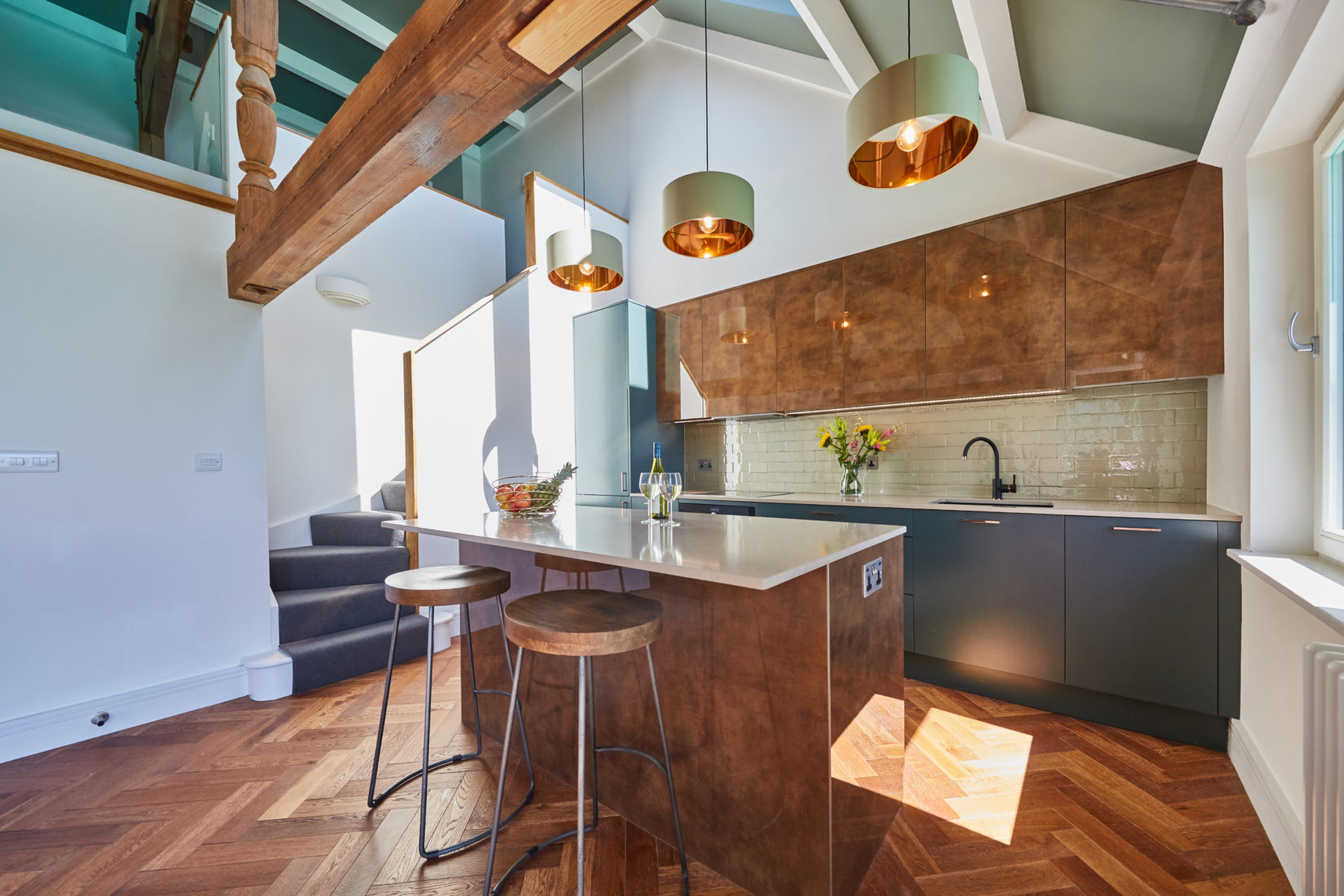 Contemporary kitchen in-situ with beam detail