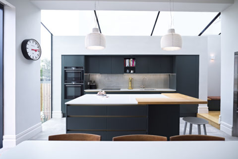 Modern, slab-door, family kitchen